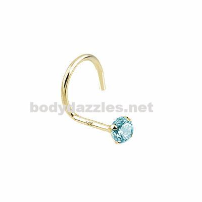 Aqua Prong 2mm CZ Nose Screw Ring 14 Karat Solid Yellow Gold - BodyDazzles