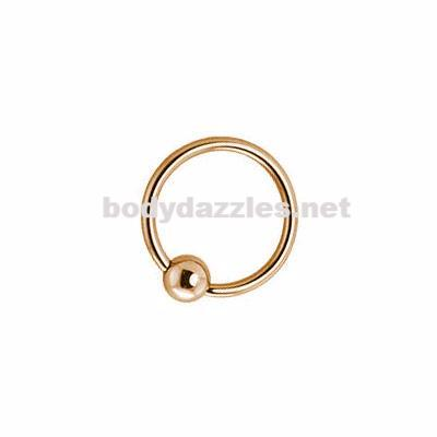 14Kt. Gold Fixed Ball Hoop Ring. Never Lose a Ball 16ga - BodyDazzles