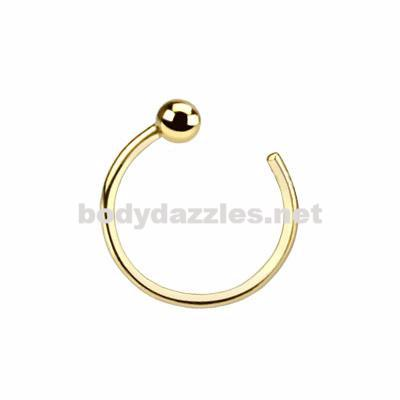 14K Ball Nose Hoop Ring Solid Yellow Gold 20ga