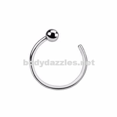 14K Ball Nose Hoop Ring Solid White Gold 20ga