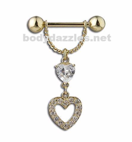 Barbell Nipple Ring Shield Solid 14k Gold - Dangle Heart Design