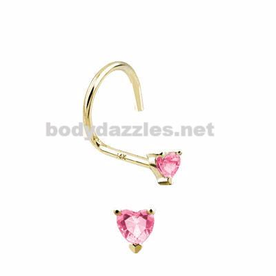 Pink Heart Prong CZ Nose Screw Ring 14 Karat Solid Yellow Gold 20ga