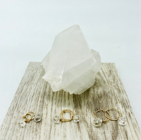 Herkimer Diamond mini-hoops