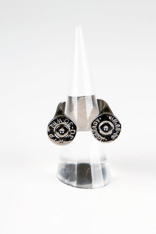 large casing Double sided bullet ring - Black Rhodium