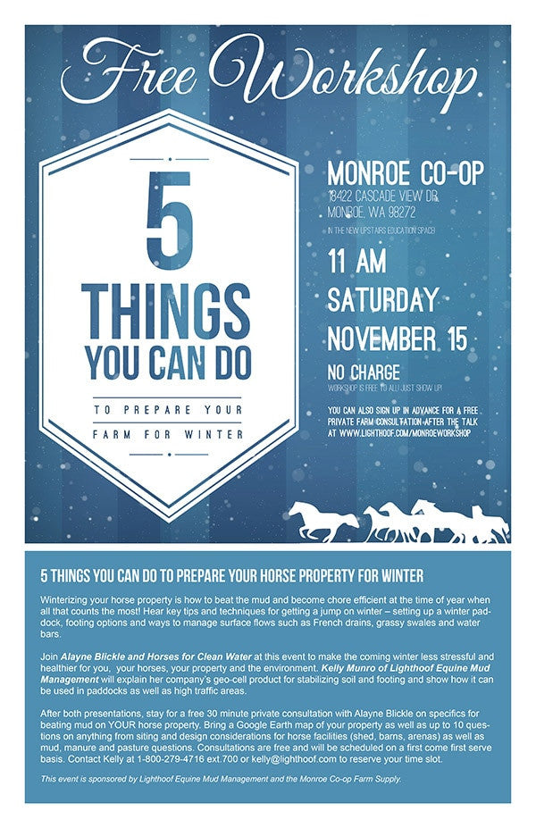 Free Workshop: 5 Things You Can Do to Prepare Your Horse Property for Winter