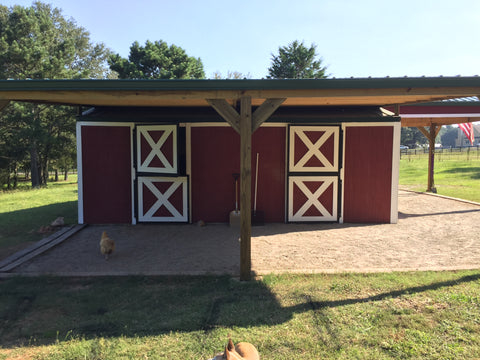 barn stalls with Lighthoof in front