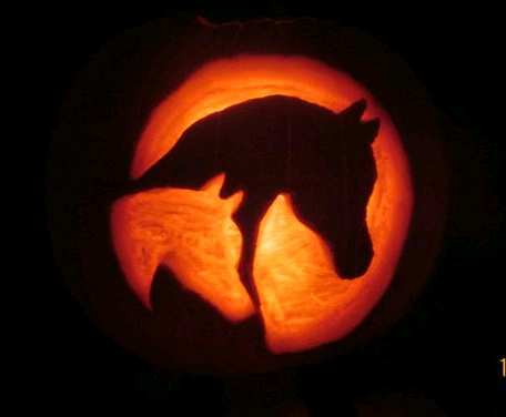 Pretty Arabian Horse Mare and Foal Pumpkin Carving for Halloween