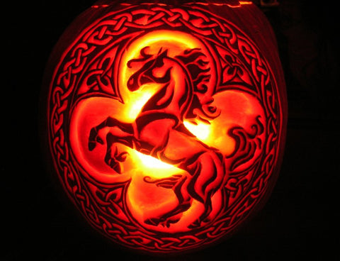 Celtic Fire Horse Pumpkin Carving for Halloween