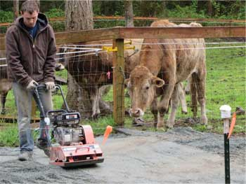 Overfilling the Lighthoof panel cells or using a compactor is the best method to ensure proper fill to support the weight of your horses or driving over Lighthoof with vehicles and machinery.