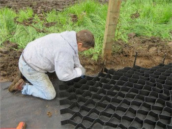 Use metal or wood stakes to position your Lighthoof panels before filling with gravel