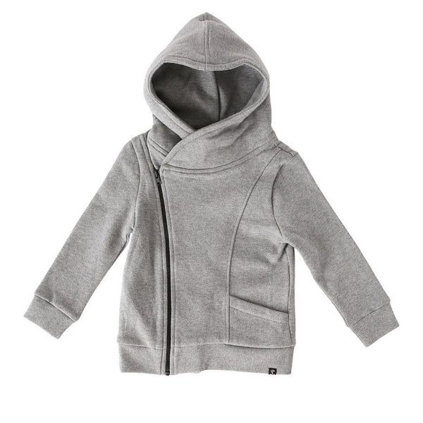 Lola & Taylor - Asymmetrical Zip Hoodie - Heather Grey Sweatshirt Lola & Taylor