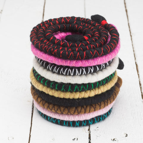 Dreadlab bendable spiral hair tie stack 10 different colours