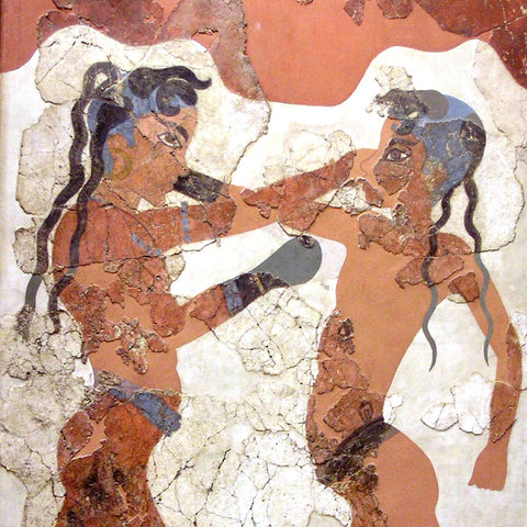 Ancient drawing of two boxers fighting with dreadlocks in greece
