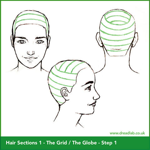 3 different sketches of globe style hair sectioning