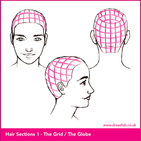 3 different sketches of grid style hair sectioning