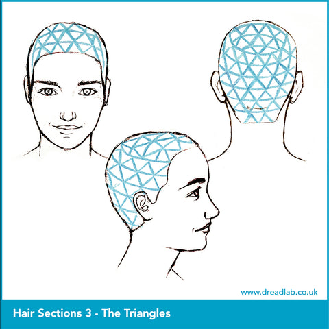 3 different sketches of triangle style hair sectioning