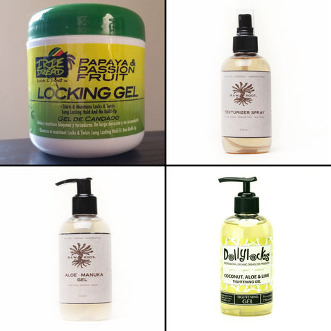 view of 4 different bottles of dreadlocks products
