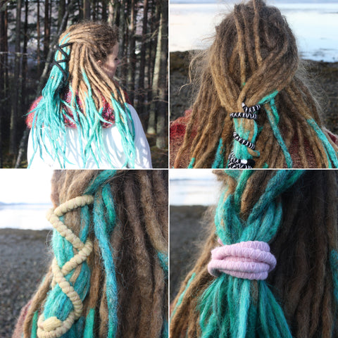 4 different images of dreadlocks styled differently with a bendable spiral dread tie