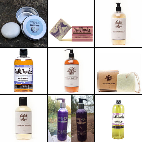 view of 9 different images of dreadlocks products in bottles