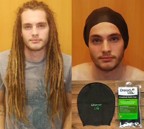 image showing before and after of boy with long dreadlocks putting on a large swim cap