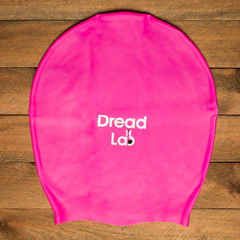 DreadLab Extra Large Swim Cap Shocking Pink With Logo 2