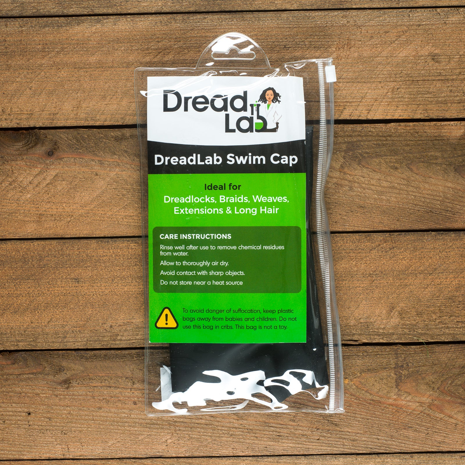 DreadLab - Extra Large Swim Cap (Black) Dreadlocks/Braids/Weaves/Extensions