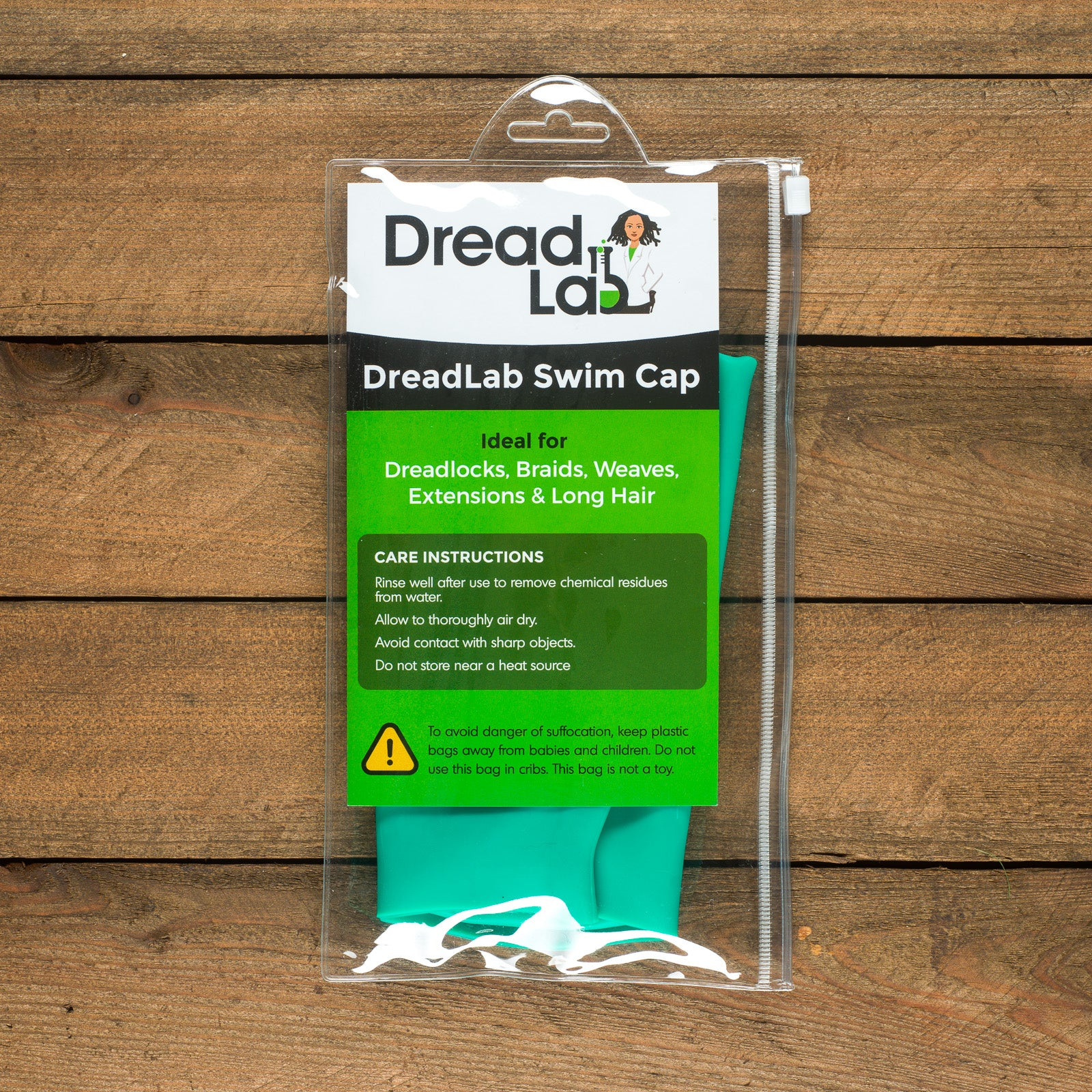 DreadLab - Extra Large Swim Cap (Caribbean Green - Plain) Dreadlocks/Extensions