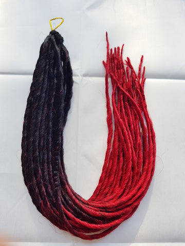 Elysee Star - Black Dark Red Transitional Synthetic Dreadlocks (Double Ended)