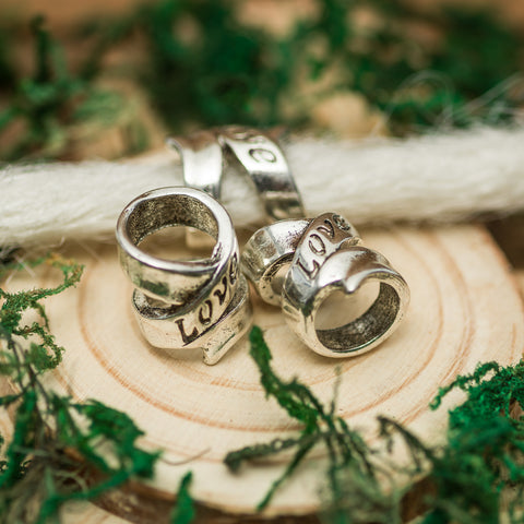 DreadLab - Metal 'Love' Carved Dread Beads Silver Colour