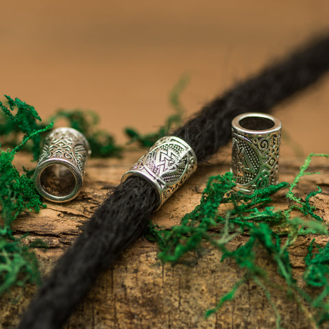 DreadLab - Metal Carved Tunnel Dread Beads Silver Colour