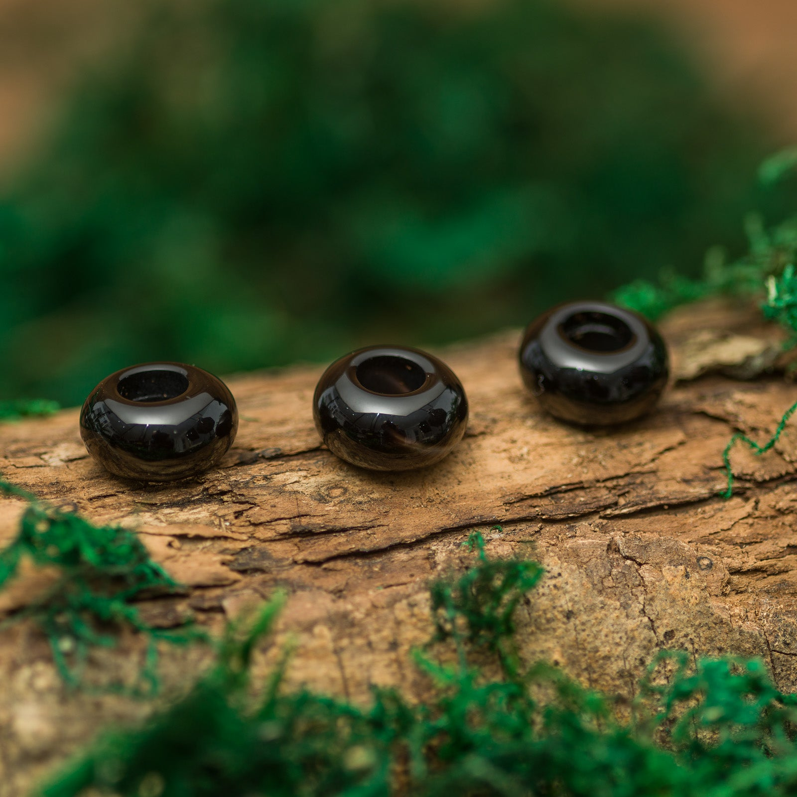DreadLab - Natural Black Onyx Agate Donunt Dread Beads
