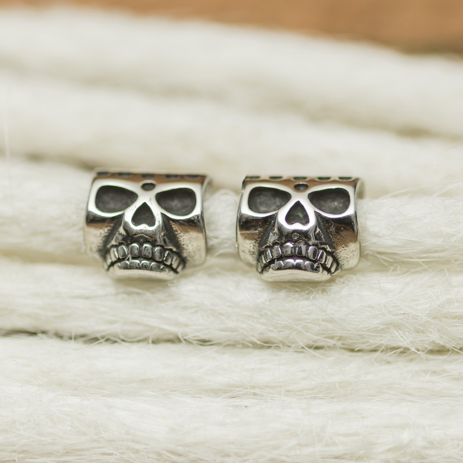 DreadLab - Stainless Steel Skull #2 Dread Beads Silver Colour