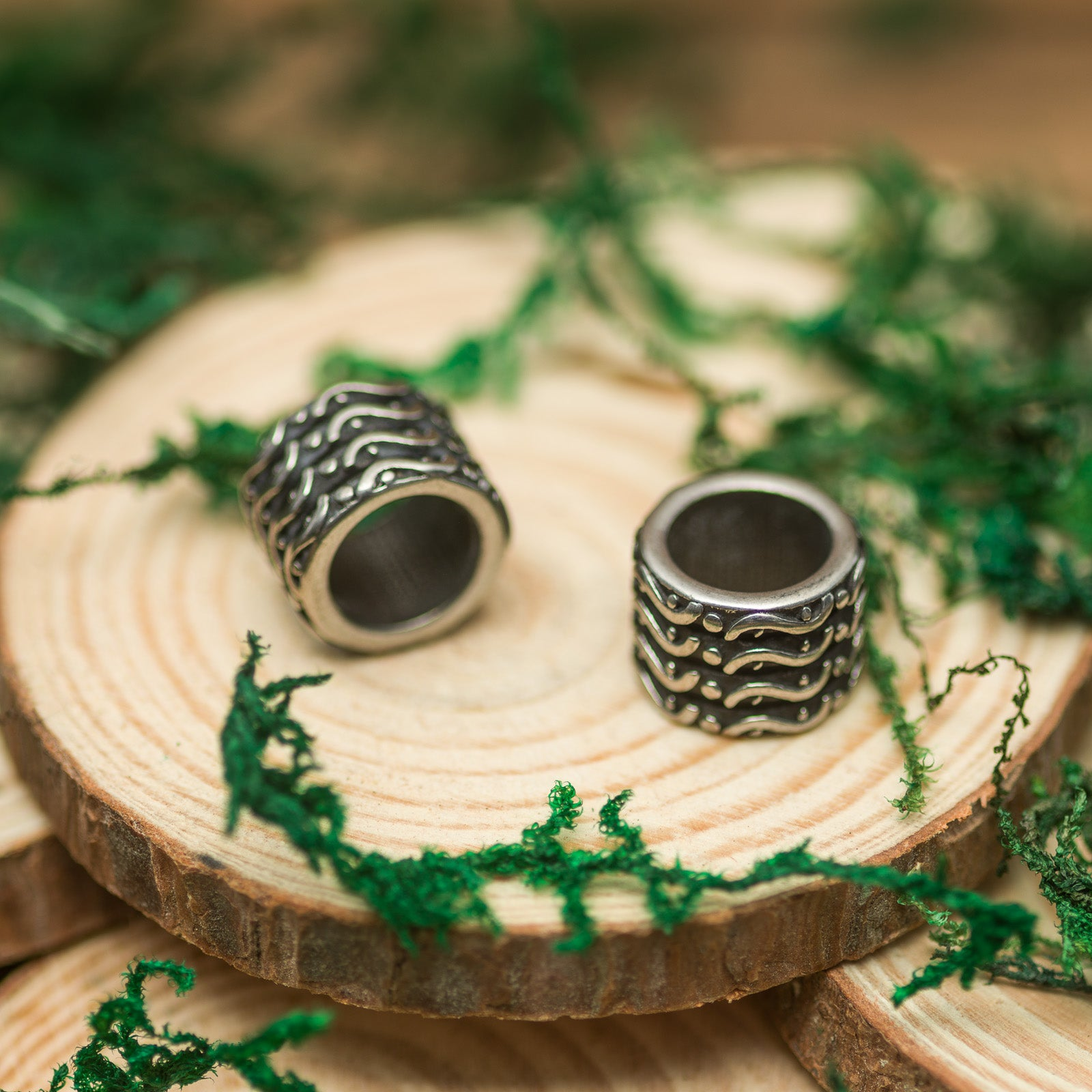 DreadLab - Stainless Steel S Pattern Column Dread Beads Silver Colour