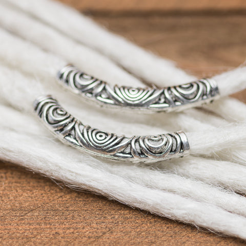 DreadLab - Metal Curved Tunnel Dread Beads Silver Colour