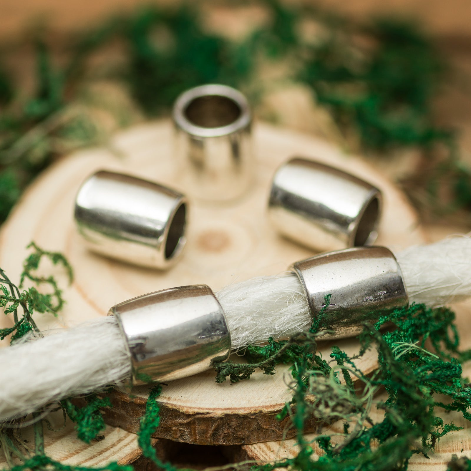 DreadLab - Stainless Steel Smooth Barrel Dread Beads Silver Colour