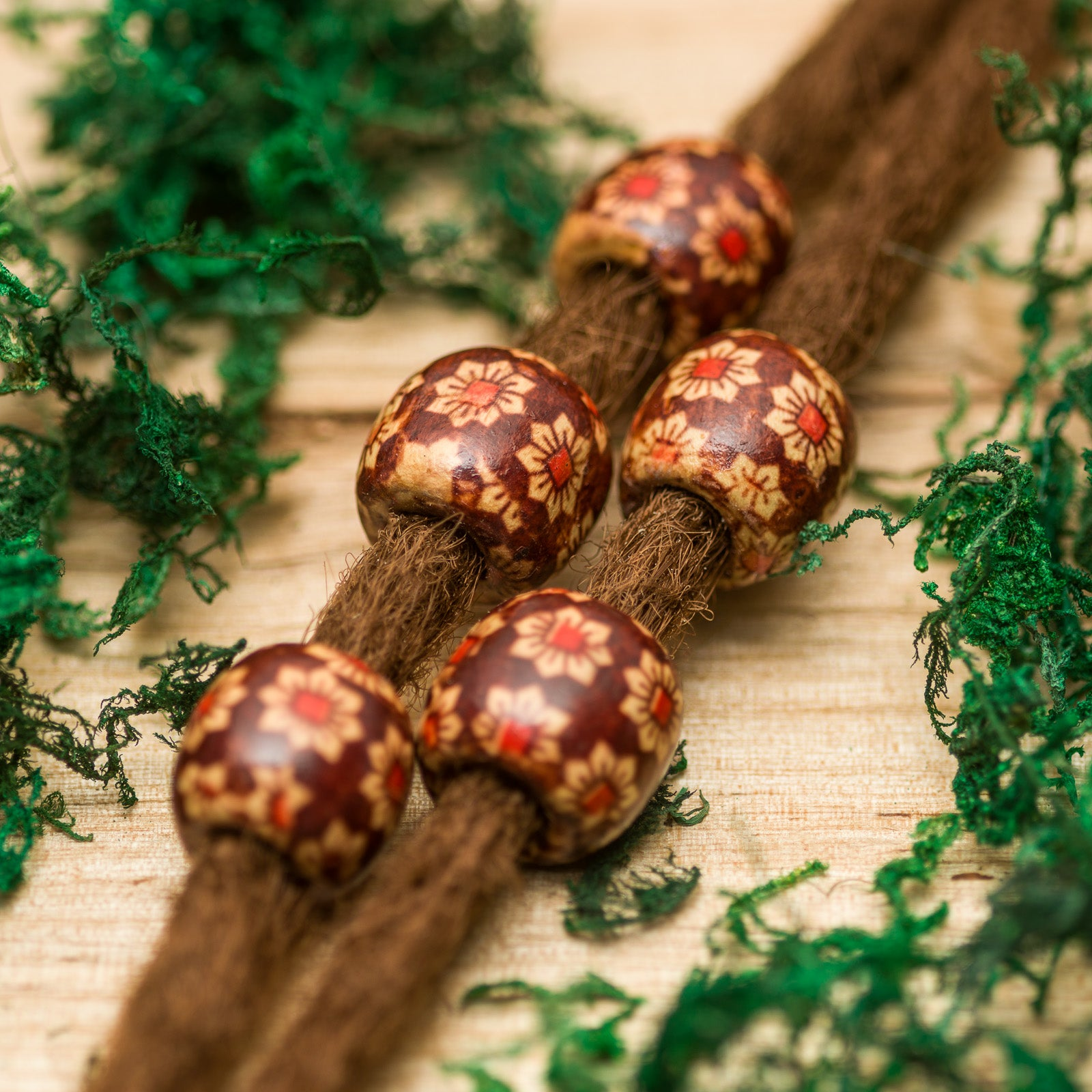 DreadLab - Wood Barrel Dread Beads Flower Pattern