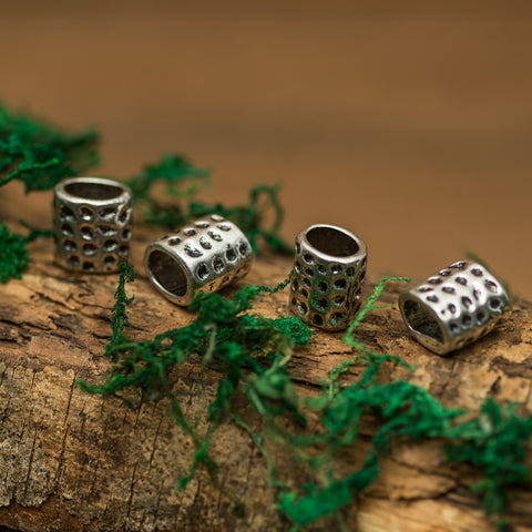 DreadLab - Metal Hammered Column Dread Beads Silver Colour