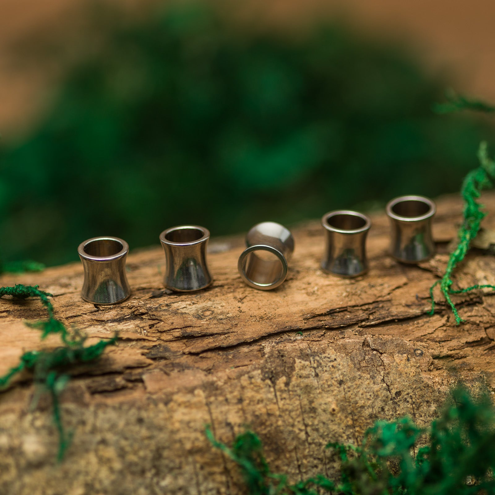 DreadLab - Stainless Steel Curved Cylinder Dread Beads Silver Colour