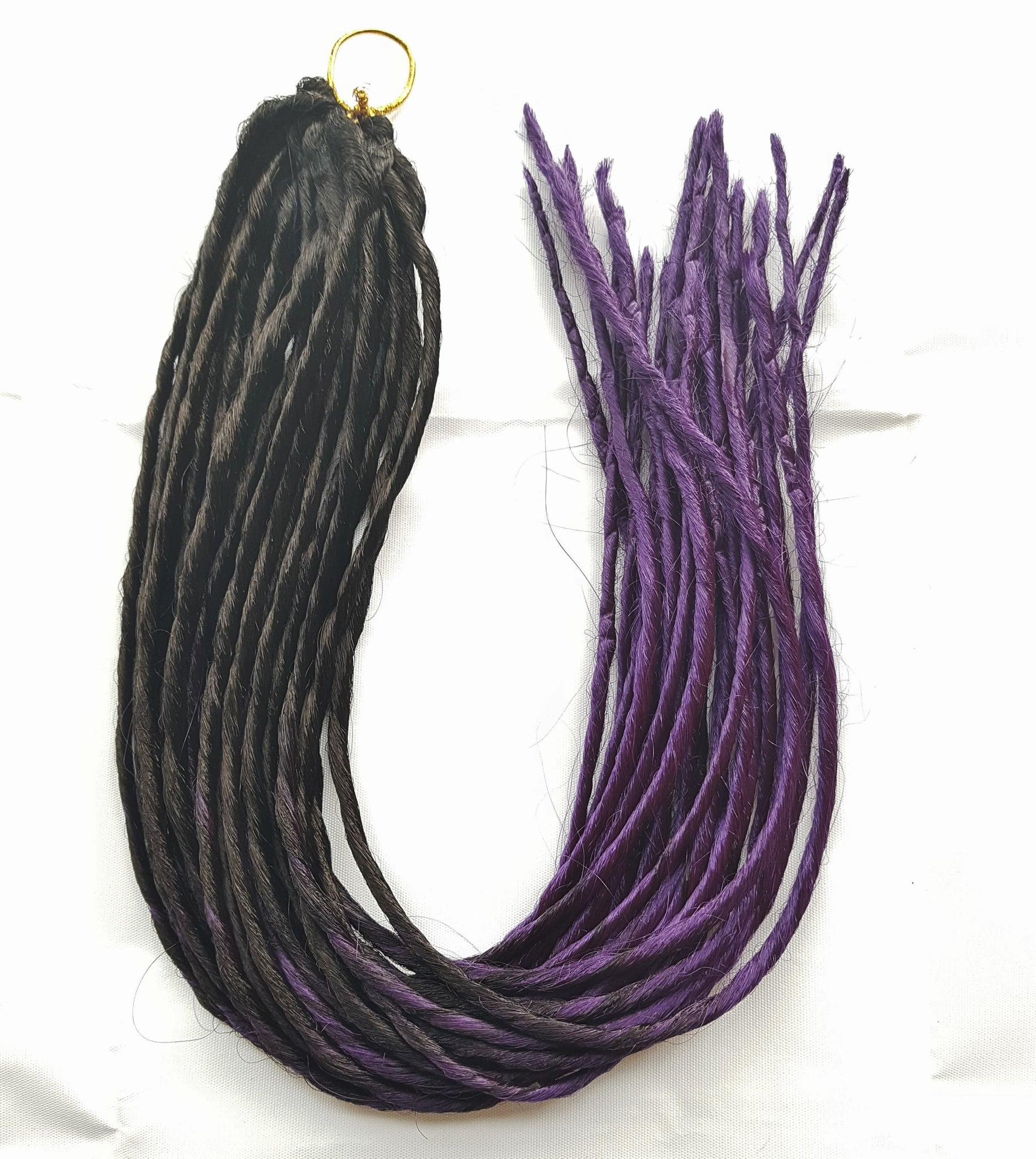 Elysee Star - #Black Dark Purple Transitional Synthetic Dreadlocks (Double Ended) (10 Pack)