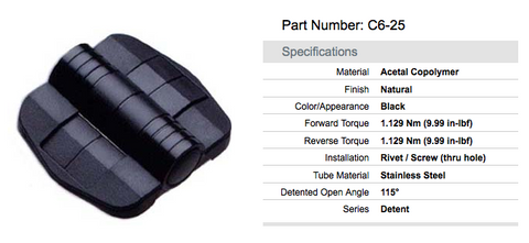 C6-25 Series Detent Hinge, Black