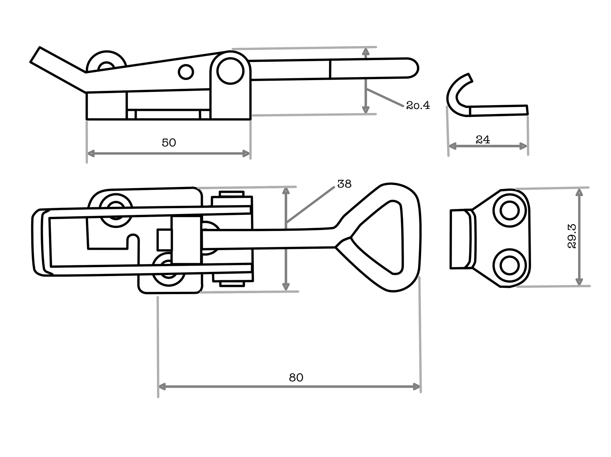 413 Series Adjustable Draw Latch