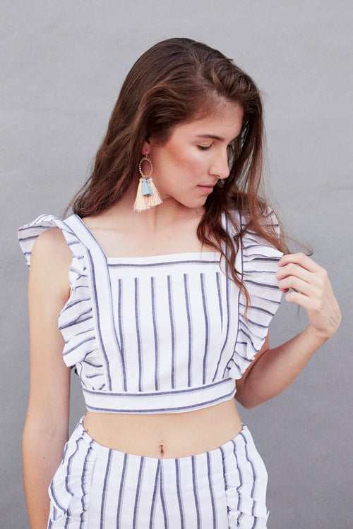 Stripe N Ruffle Top