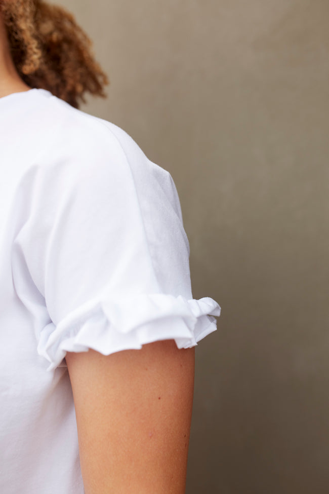 Basic Bee White Ruffle Top