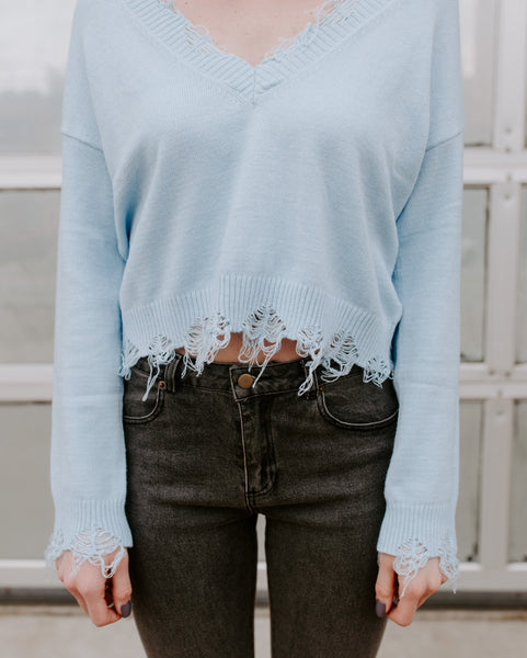 Baby Blues Distressed Sweater