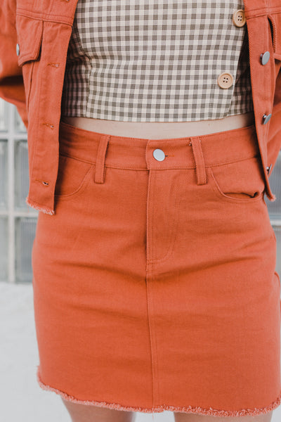 Rusty Business Denim Skirt