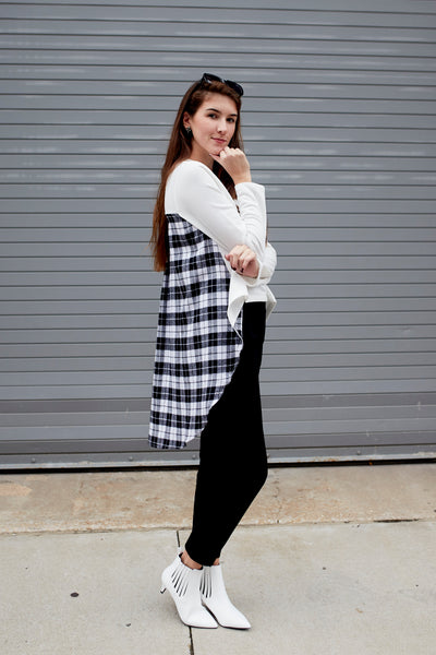 Biz In Front Flannel Back Top