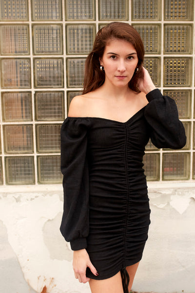 Adrenaline Ruche Off Shoulder Dress