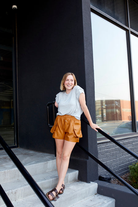 Rust Easy Velvet Shorts
