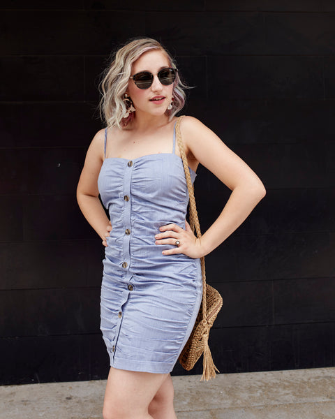 Ruched In Denim Dress