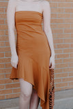 Let's Clay Strapless Asym Dress